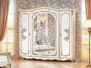 Фиона шкаф 5 дверный с зеркалом крем глянец
