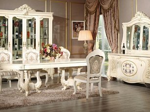 Лероз столовая комплект: витрина 4 дверная + буфет с зеркалом + стол обеденный 240х120 + 6 стульев