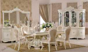 Королева 3876 столовая комплект: 4 дверная витрина + буфет + стол обеден. + 8 стульев