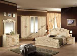 Рома  спальня комплект: кровать 160 + 2 тумбы + комод + 6 дв шкаф беж