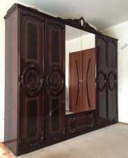 Роза шкаф 6 дверный с зеркалом могано