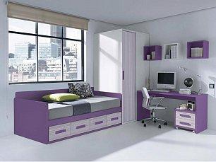 Данза детская 04: кровать +шкаф+тумбочка+стол письменный+ полка подвесная
