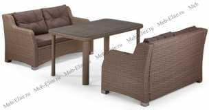 Комплект мебели с диванами 2+1 T51B/S51B-W60 Light Brown иск. ротанг