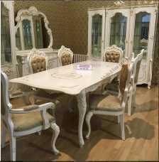Магдалена столовая комплект: сервант 3 двер+комод с зеркалом+стол+6 стул+2 стула с подлокотниками слоновая кость