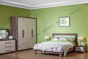 Мартель-2 спальня комплект: кровать 160+2 тумбы прикроватные+комод+зеркало (светлый дуб)