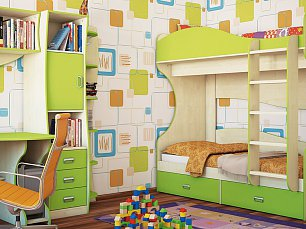 Комби МН-211 спальня комплект:1-дверный шкаф (МН-211-15) + кровать (МН-211-06) + комод (МН-211-24) + стол (МН-211-05)