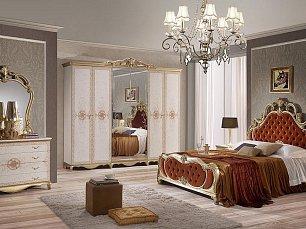 Алехандра спальня комплект: кровать 160+2 тумбы прикроватные+комод с/з+шкаф 4 дверный (бежевый)