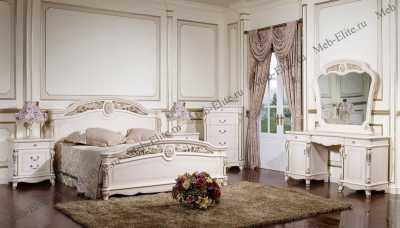 Афина белая с жемчугом спальня