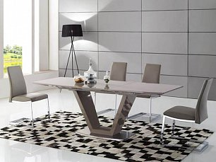 ЕСФ столовая комплект: стол обеденный 160/220х90 HT2135  + стулья HD6101 4 шт. глянец