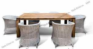 Ротанг Алика: комплект:стол обеденный 200х100+6 кресел