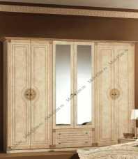 Рома шкаф 6 дверный с зеркалом беж