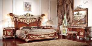 Лав спальня комплект орех: кровать 180х200 + 2 тумбы прикроватные + туалетный стол с зеркалом + шкаф 4 дверный + пуф