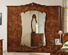 Тициана шкаф 5 дверный с зеркалами орех