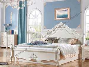 Виктория спальня комплект:  кровать 180х200 арт. 909 + 2 тумбы прикроватные + туалетный стол арт. 8801 + пуф + шкаф 4 дверный