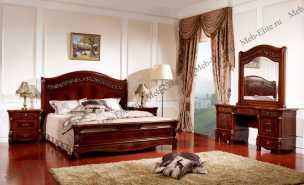Саманта 3265 спальня комплект: кровать 180х200 + 2 тумбы прикроватные + стол туалетный с зеркалом + пуф + шкаф 4 дверный