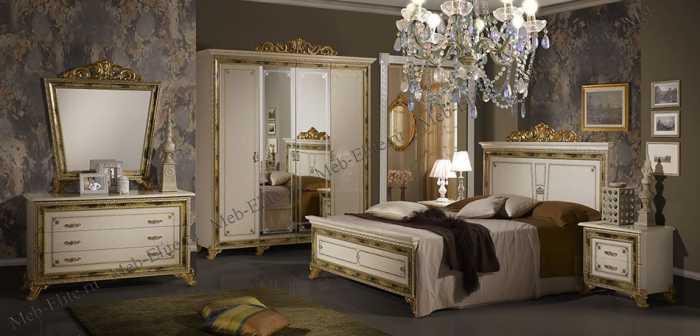 Катя спальня комплект: кровать 180х200+2 тумбы прикроватные+комод с зеркалом+ 6 дверный шкаф беж