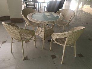 Мик комплект MK-3602-MW: стол обеденный 84х84 T29А + 4 стула Y-40 иск. ротанг
