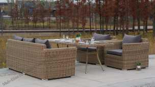 Моккачино комплект: 3 местный диван + 2 кресла + стол обеденный 200х90 иск. ротанг