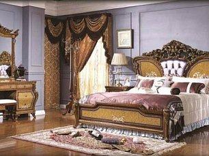 Алонзо спальня комплект: кровать 180х200 + 2 тумбы прикроватные + туалетный стол с зеркалом + шкаф 5 дверный + пуф