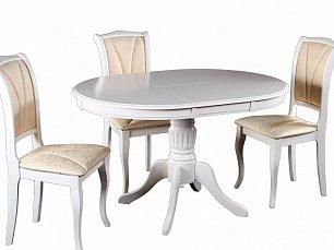 Мик столовая комплект: стол обеденный 90/125х95 MK-1254-BW + 4 стула MK-1223-BW