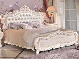Мирабелла 3907 спальня комплект: кровать 180х200 (изголовье кожа) + 2 тумбы прикроватные + туалетный стол с зеркалом + шкаф 4 дверный с зеркалом