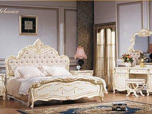 Магдалена спальня комплект: кровать 180+тумба прикр 2+туалетный стол +шкаф 4 дверный+пуф слоновая кость