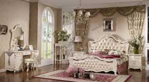 Лоренцо спальня комплект:кровать 1,8+ тумба прикроватная 2ш+туалетный стол с зеркалом+ шкаф 4дверный с зеркалом без пуфа