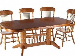 Мик столовая комплект: стол обеденный 153/199/245х107 MK-1111-GD + 6 стульев с подлокотниками MK-1118-GD