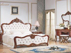 Романтика спальня комплект: кровать 180+тумба прик -2+стол туалетный с зеркалом+шкаф 4-х двер с зеркалом орех