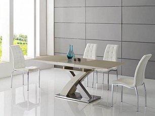 ЕСФ столовая комплект: стол обеденный 140/180х85 HT2122 + стулья DC365 4 шт. глянец