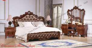 Мона Лиза (орех) спальня комплект:кровать 180+2тумбы прикроватные+комод высокий+шкаф-купе