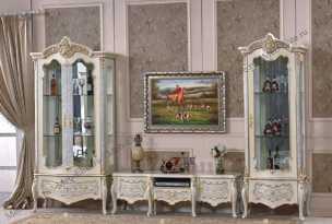 Принцесса 3829 гостиная комплект: 1 дверная витрина+2 дверная витрина+тумба тв