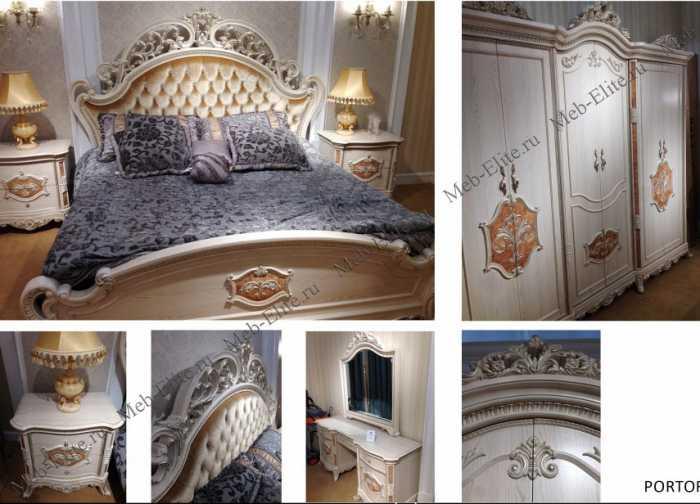 Портофино спальня комплект: кровать 200+2 тумбы прикроватные+стол туалетный с/з+шкаф 6 дверный (белый)