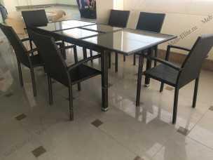 Мик ротанг комплект MK-3629-BR: стол обеденный 150/210х90 T219 +6 стульев Y-59 В
