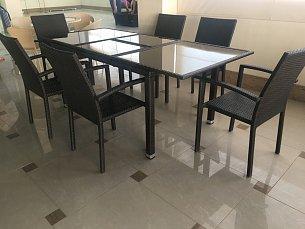 Мик комплект MK-3629-BR: стол обеденный 150/210х90 T219 +6 стульев Y-59 В иск. ротанг