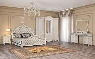 Рафаэлла спальня комплект: кровать 180х200 + 2 тумбы прикроватные + туалетный стол с зеркалом + шкаф 4 дверный