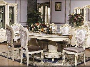 Дукали столовая комплект: витрина 3 дверная + буфет с зеркалом + стол обеденный 200х240х110 + 6 стульев
