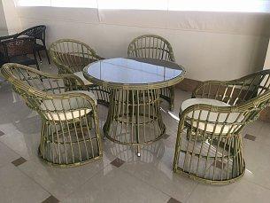 Мик комплект MK-3630-GN: стол обеденный 88х88 T309 + 4 кресла Y309 иск. ротанг