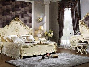613 спальня комплект: кровать 180х200 + 2 тумбы прикроватные + туалетный стол с зеркалом + шкаф 4 дверный + пуф
