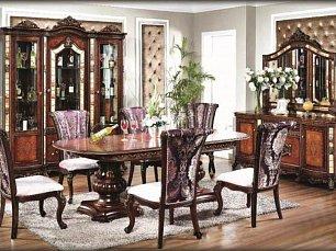 Жасмин столовая комплект: витрина 4 дверная + буфет с зеркалом + стол обеденный + 6 стульев орех