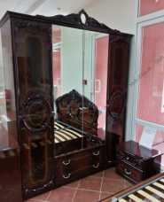 Роза шкаф 4 дверный с зеркалом могано