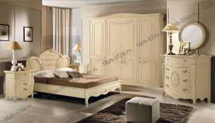 Коринто спальня комплект: кровать 160+2 тумбы+комод с/з+шекаф 4 дверный (бежевый)