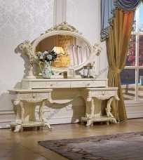 Роял туалетный столик с зеркалом слоновая кость+золото