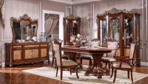 972 столовая комплект: витрина 3 дверная + буфет с зеркалом + стол обеденный 240/280х113 + стул 6 шт.