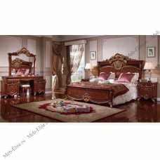 977 спальня комплект: кровать 180х200 + 2 тумбы прикроватные + туалетный стол с зеркалом + шкаф 5 дверный + пуф