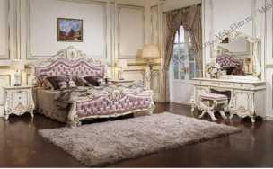 Монреаль спальня комплект: кровать 180х200 + 2 тумбы прикроватные + туалетный стол с зеркалом + шкаф 4 дверный + пуф