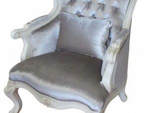 Белый Цветок кресло 8801-В мягкое с пуговицами ткань 8835