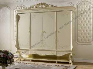 Роял шкаф 4 дверный слоновая кость+золото