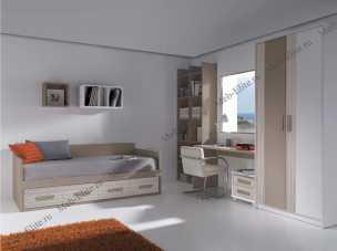 Данза детская 05: кровать +шкаф+тумбочка+стол письменный+ полка подвесная+библиотека