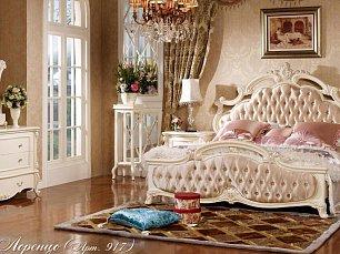 Лоренцо спальня комплект:кровать 1,8+ тумба прикроватная 2ш+комод с зеркалом+ шкаф 4дверный с зеркалом без пуфа